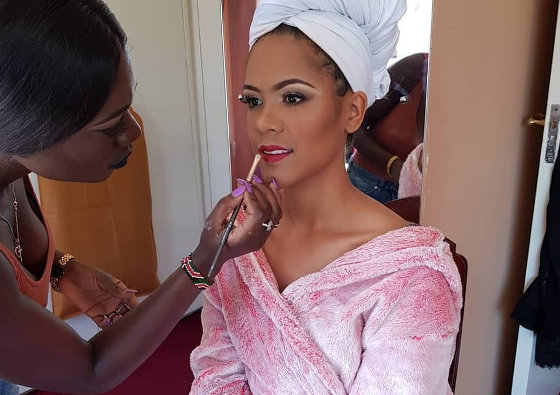 Linet Odera - Makeup Artist - Applying makeup